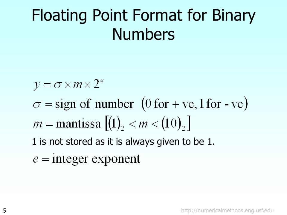 http://numericalmethods.eng.usf.edu5 Floating Point Format for Binary Numbers 1 is not stored as it is always given to be 1.