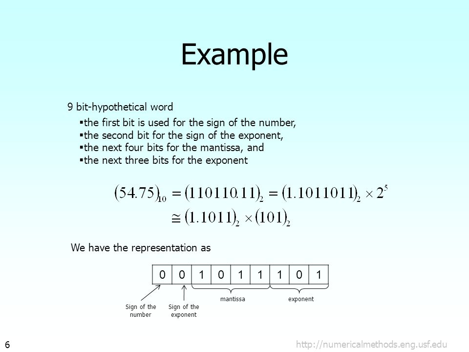 http://numericalmethods.eng.usf.edu7 Machine Epsilon Defined as the measure of accuracy and found by difference between 1 and the next number that can be represented