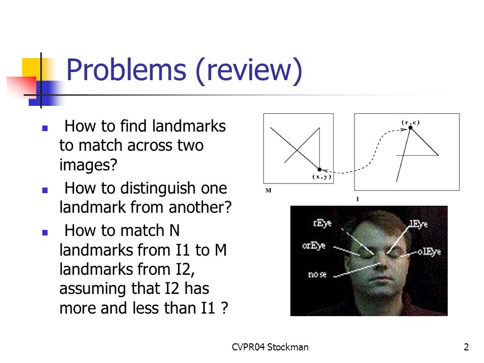 CVPR04 Stockman2 Problems (review) How to find landmarks to match across two images.