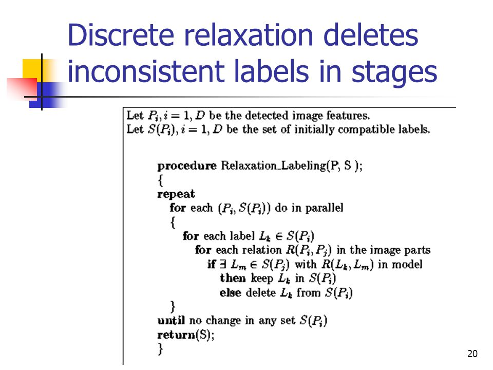 CVPR04 Stockman20 Discrete relaxation deletes inconsistent labels in stages