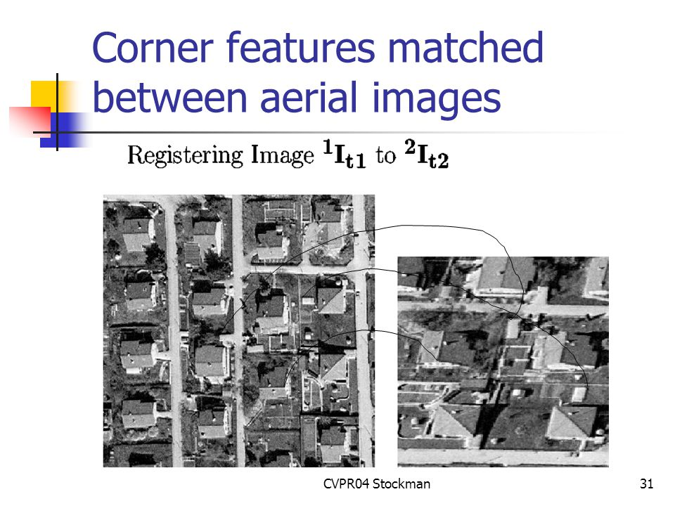 CVPR04 Stockman31 Corner features matched between aerial images
