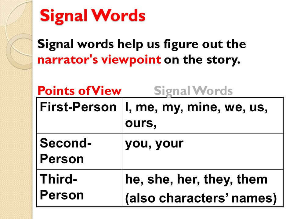 Signal Words First-PersonI, me, my, mine, we, us, ours, Second- Person you, your Third- Person he, she, her, they, them (also characters' names) Signal words help us figure out the narrator s viewpoint on the story.