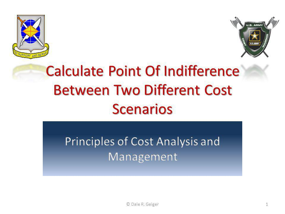 Solving for Breakeven Price Set the two cost expressions equal to one another: Cost per oz.
