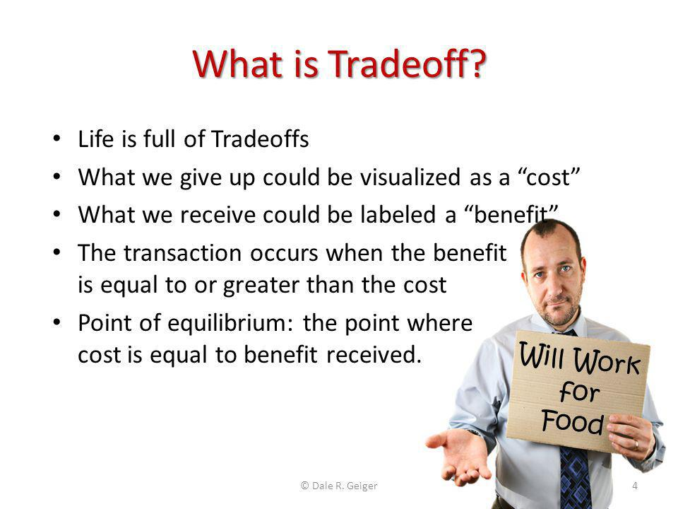 Tradeoff Theory Identifies the point of equality between two differing cost expressions with a common unknown variable Revenue and Total Cost are cost expressions with Number of Units as the common variable: Revenue = $Price/Unit * #Units Total Cost = ($VC/Unit * #Units) + Fixed Cost © Dale R.