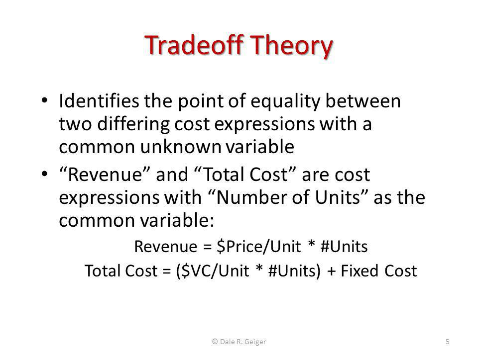 """Tradeoff Theory Identifies the point of equality between two differing cost expressions with a common unknown variable """"Revenue"""" and """"Total Cost"""" are"""