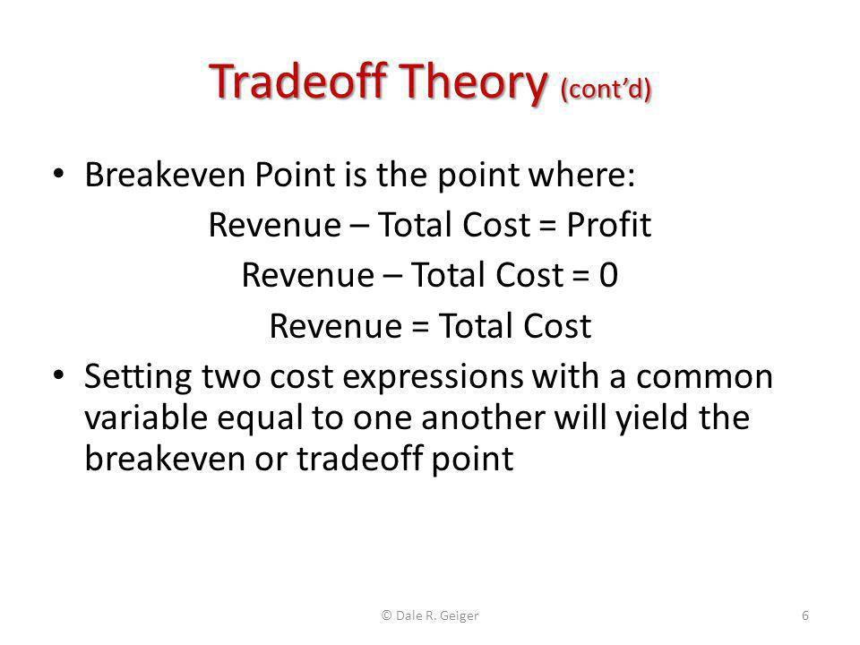 Indifference Points Spreadsheet Enter Data for two different cost per unit options, i.e.