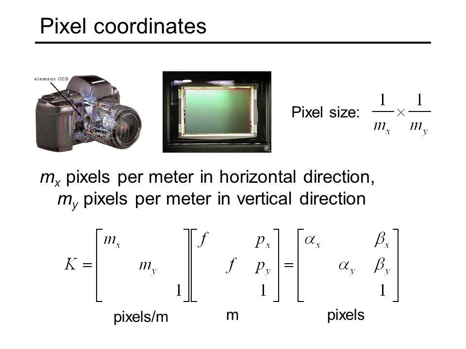 Pixel coordinates m x pixels per meter in horizontal direction, m y pixels per meter in vertical direction Pixel size: pixels/m mpixels