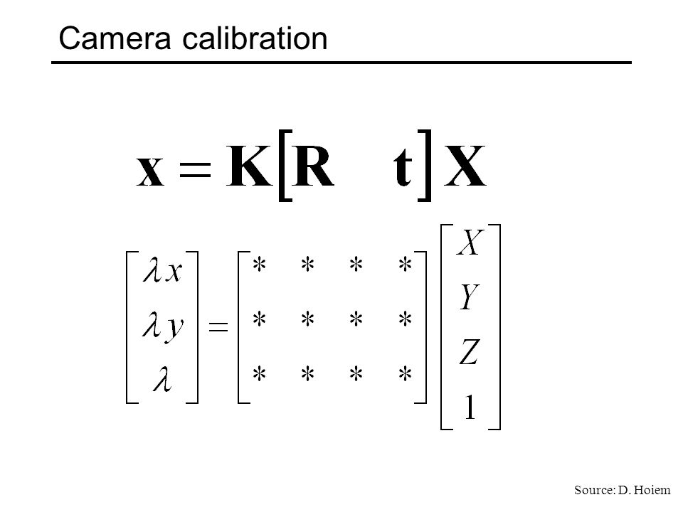 Camera calibration Source: D. Hoiem
