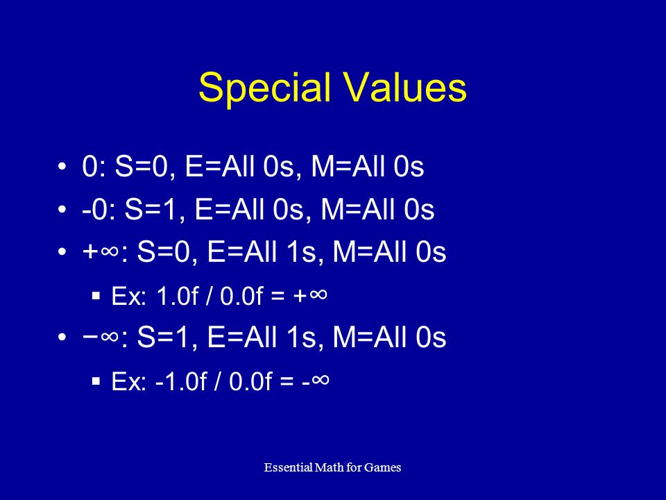 Essential Math for Games Not a Number Represents undefined results  0.0f / 0.0f = NaN  ACOS(2.0f) = Nan Two kinds – Quiet and Signaling  Quiet can be passed on to other ops  Signaling traps the code NaN: E=All 1s, M=Not all 0s
