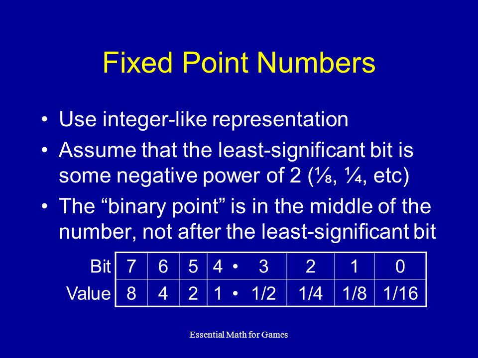 Essential Math for Games Fixed Point Numbers Use integer-like representation Assume that the least-significant bit is some negative power of 2 (⅛, ¼,