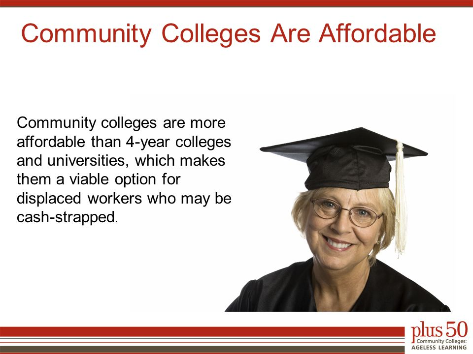 Community Colleges Are Affordable Community colleges are more affordable than 4-year colleges and universities, which makes them a viable option for displaced workers who may be cash-strapped.