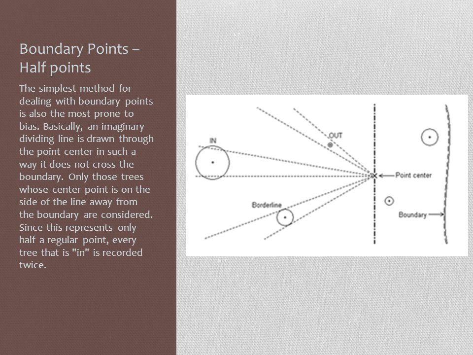 Boundary Points – Half points The simplest method for dealing with boundary points is also the most prone to bias. Basically, an imaginary dividing li
