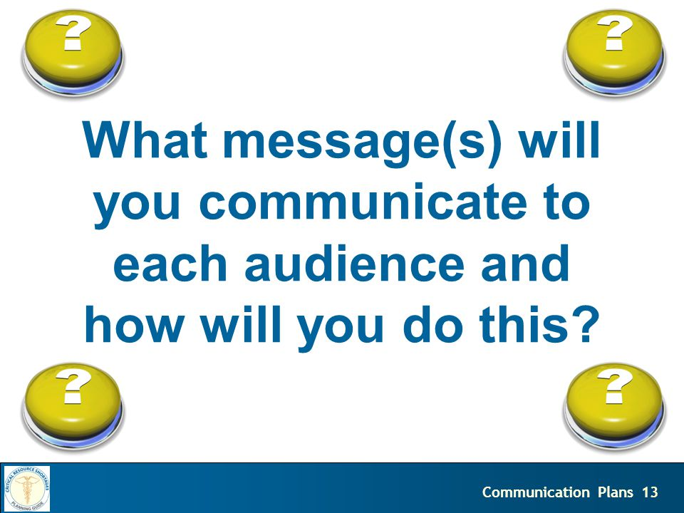 13Communication Plans What message(s) will you communicate to each audience and how will you do this?