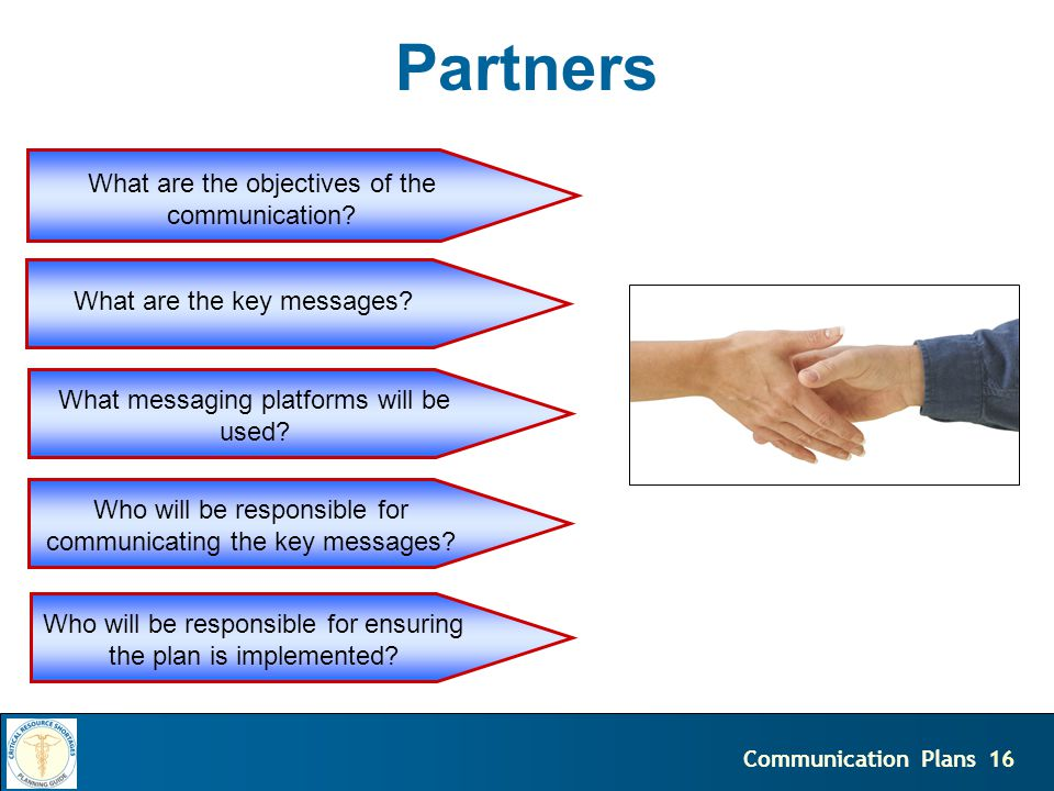 16Communication Plans Partners What are the objectives of the communication.
