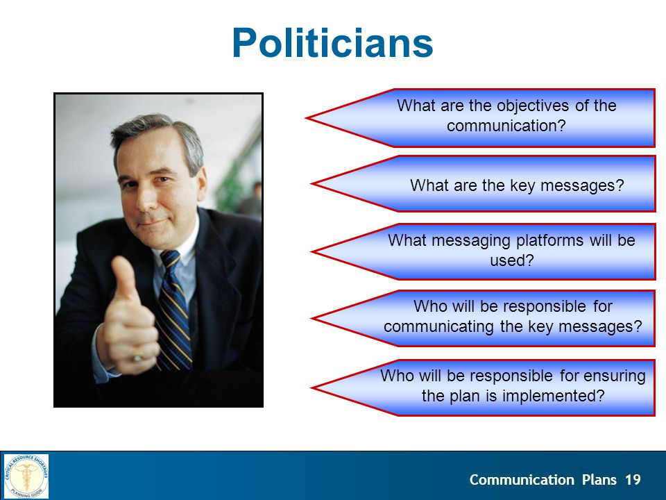 19Communication Plans Politicians What are the objectives of the communication.