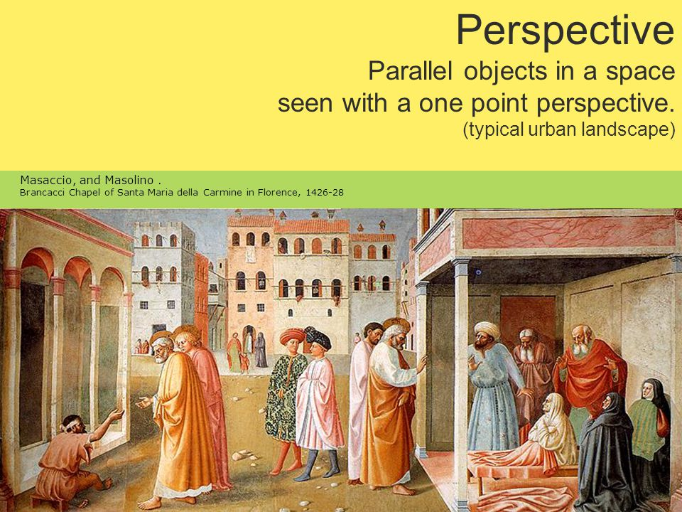 Perspective Parallel objects in a space seen with a one point perspective.