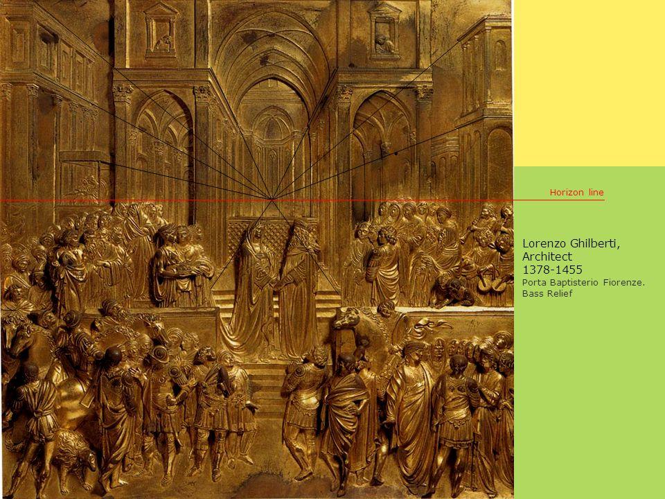 Lorenzo Ghilberti, Architect 1378-1455 Porta Baptisterio Fiorenze. Bass Relief Horizon line