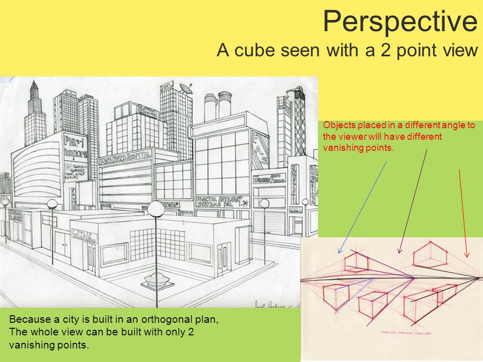 Perspective A cube seen with a 2 point view Because a city is built in an orthogonal plan, The whole view can be built with only 2 vanishing points.