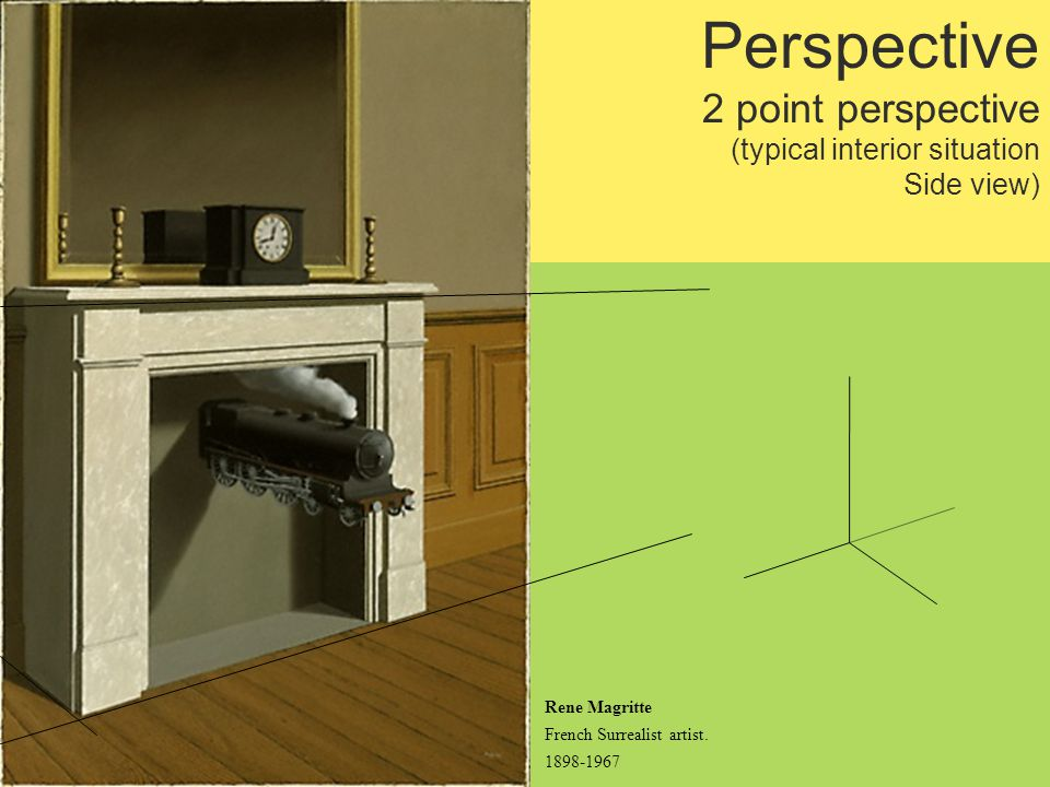 Perspective 2 point perspective (typical interior situation Side view) Rene Magritte French Surrealist artist.