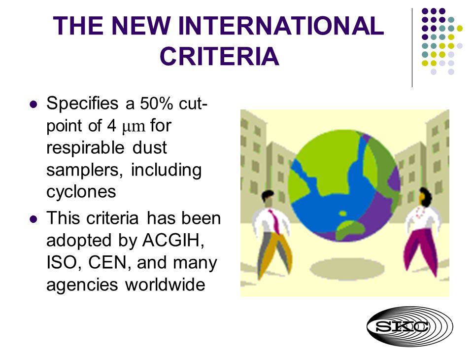 THE NEW INTERNATIONAL CRITERIA Specifies a 50% cut- point of 4 μm for respirable dust samplers, including cyclones This criteria has been adopted by ACGIH, ISO, CEN, and many agencies worldwide