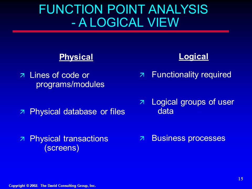 Copyright © 2002. The David Consulting Group, Inc. 15 FUNCTION POINT ANALYSIS - A LOGICAL VIEW Physical ä Lines of code or programs/modules ä Physical