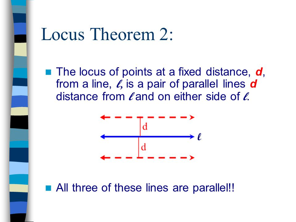 Locus Theorem 2: The locus of points at a fixed distance, d, from a line, l, is a pair of parallel lines d distance from l and on either side of l.