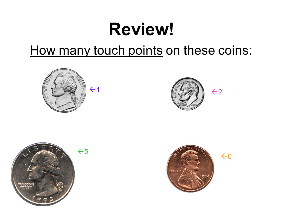 Review! Name these coins:  Nickel  Quarter  Dime  Penny