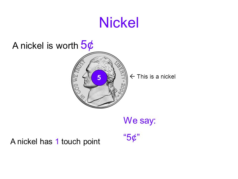 """Touch Points We always count by 5's when we are using touch points on the coins Each touch point is worth 5 cents A touch point is a """"dot"""" or """"dots"""" o"""