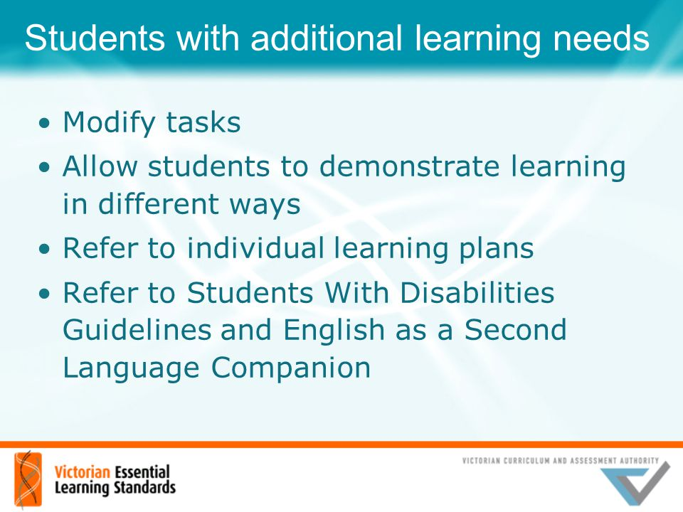 Students with additional learning needs Modify tasks Allow students to demonstrate learning in different ways Refer to individual learning plans Refer