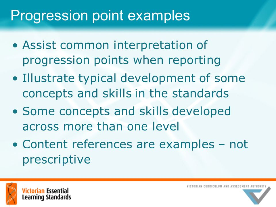 Progression point examples Assist common interpretation of progression points when reporting Illustrate typical development of some concepts and skill