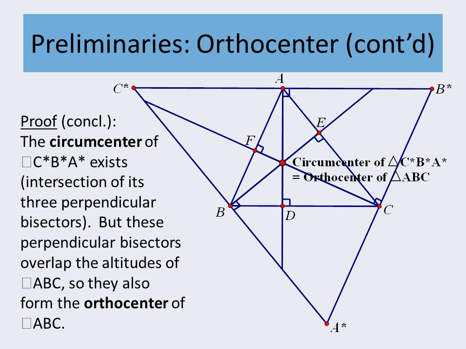 Preliminaries: Orthocenter (cont'd) Proof (concl.): The circumcenter of  C*B*A* exists (intersection of its three perpendicular bisectors).