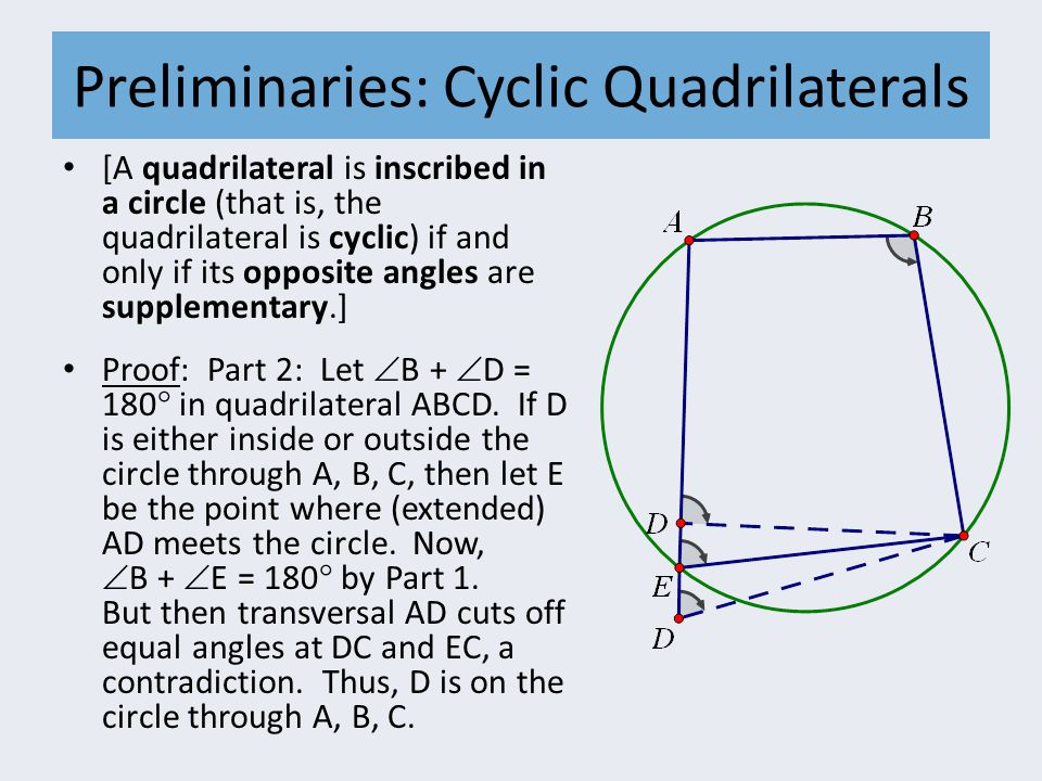 Preliminaries: Cyclic Quadrilaterals [A quadrilateral is inscribed in a circle (that is, the quadrilateral is cyclic) if and only if its opposite angl