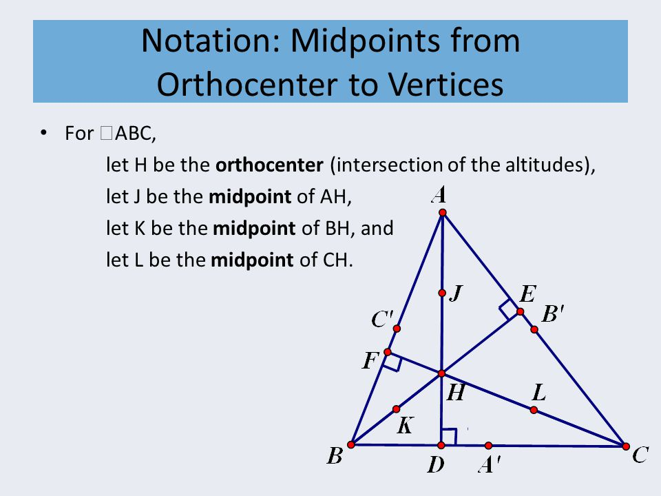 Notation: Midpoints from Orthocenter to Vertices For  ABC, let H be the orthocenter (intersection of the altitudes), let J be the midpoint of AH, let