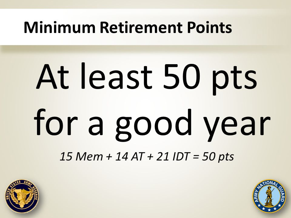 Minimum Retirement Points At least 50 pts for a good year 15 Mem + 14 AT + 21 IDT = 50 pts