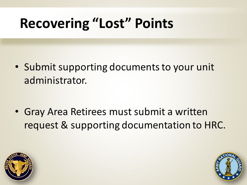 "Recovering ""Lost"" Points Submit supporting documents to your unit administrator. Gray Area Retirees must submit a written request & supporting documen"