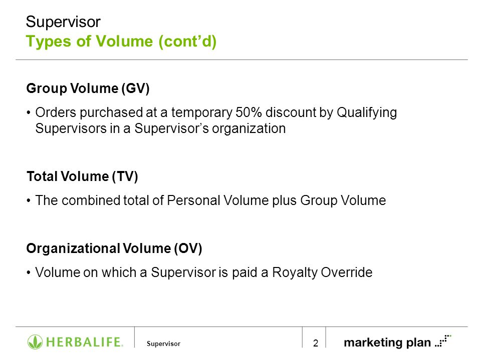 Supervisor Supervisor Types of Volume (cont'd) 2 Group Volume (GV) Orders purchased at a temporary 50% discount by Qualifying Supervisors in a Supervi