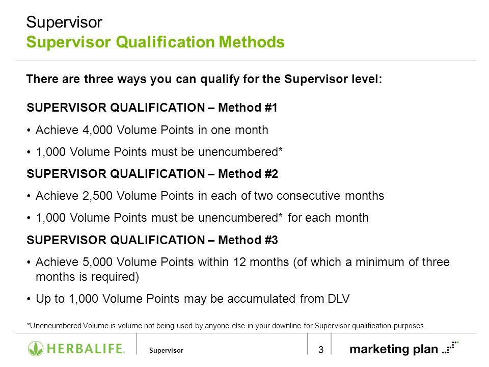 Supervisor Supervisor Supervisor Qualification Methods 3 There are three ways you can qualify for the Supervisor level: SUPERVISOR QUALIFICATION – Met