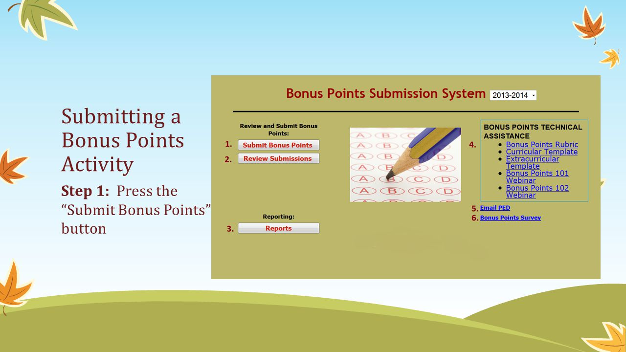 Submitting a Bonus Points Activity Step 1: Press the Submit Bonus Points button