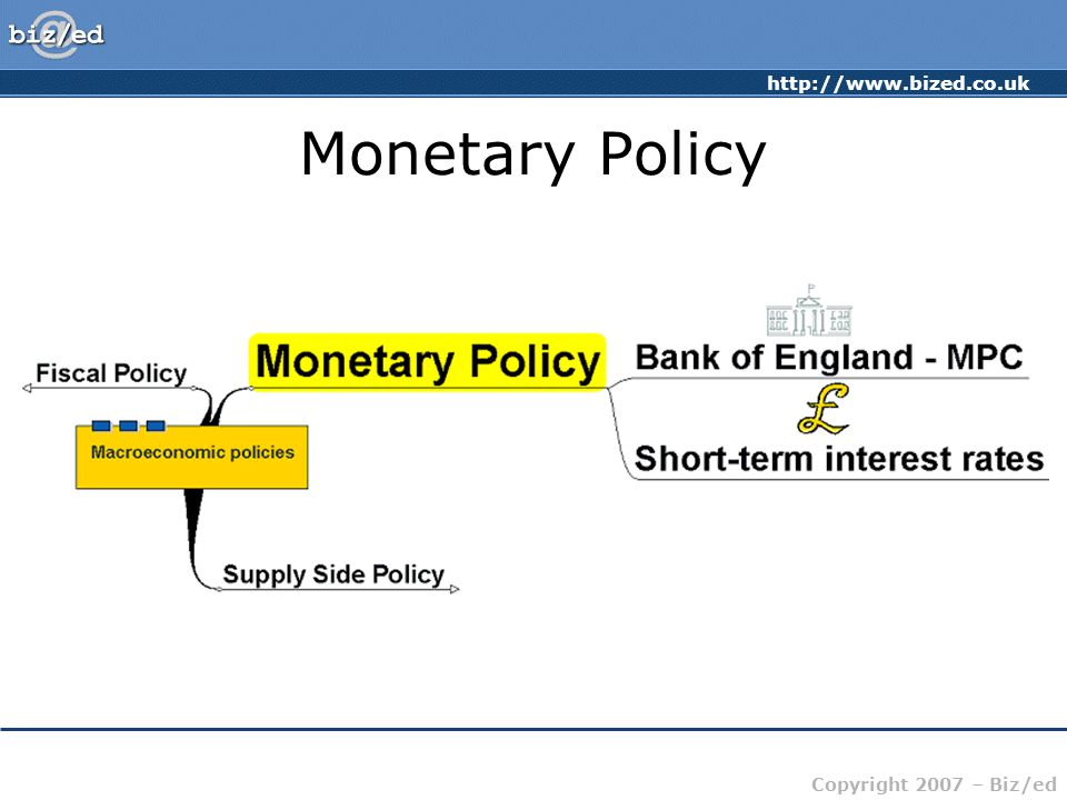 http://www.bized.co.uk Copyright 2007 – Biz/ed Monetary Policy Attempts to influence the level of economic activity (the amount of buying and selling in the economy) through changes to the amount of money in circulation and the price of money – short-term interest rates.