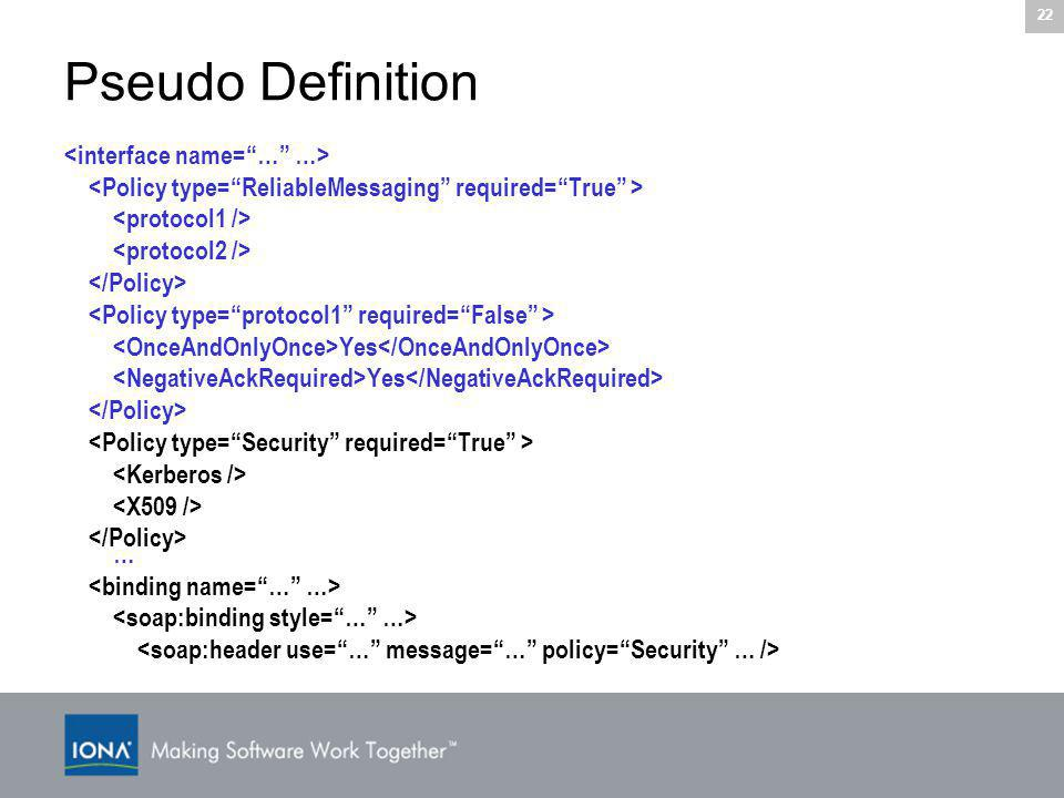 22 Pseudo Definition Yes …