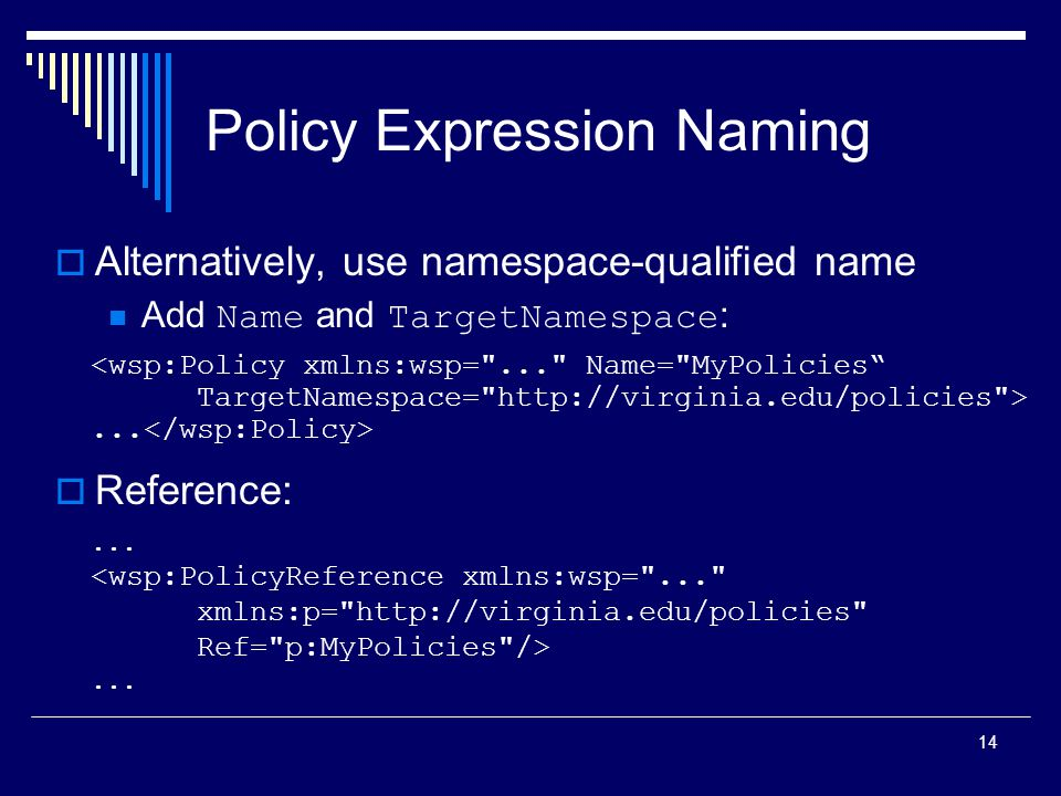 14 Policy Expression Naming  Alternatively, use namespace-qualified name Add Name and TargetNamespace :  Reference:......