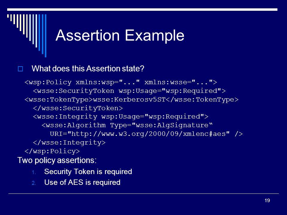 19  What does this Assertion state. Two policy assertions: 1.