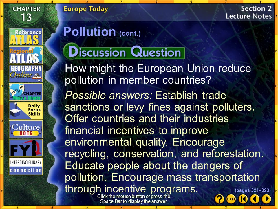 Section 2-17 Click the Speaker button to listen to the audio again. Pollution (cont.) (pages 321–323)