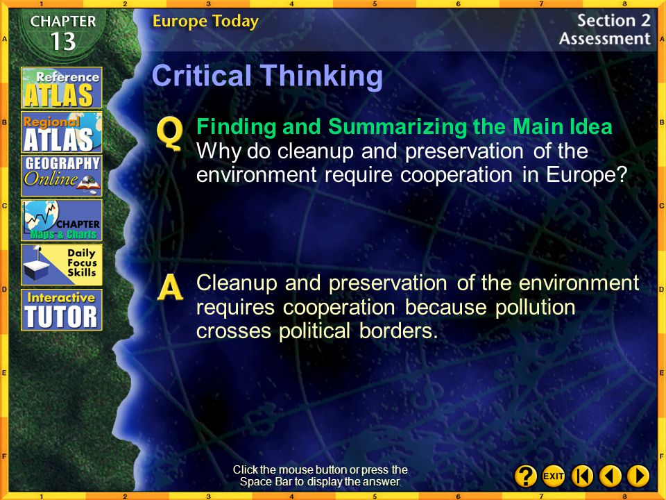 Section 2-27 Critical Thinking Identifying Cause and Effect Why does eastern Europe have higher levels of industrial pollution than western Europe? Cl