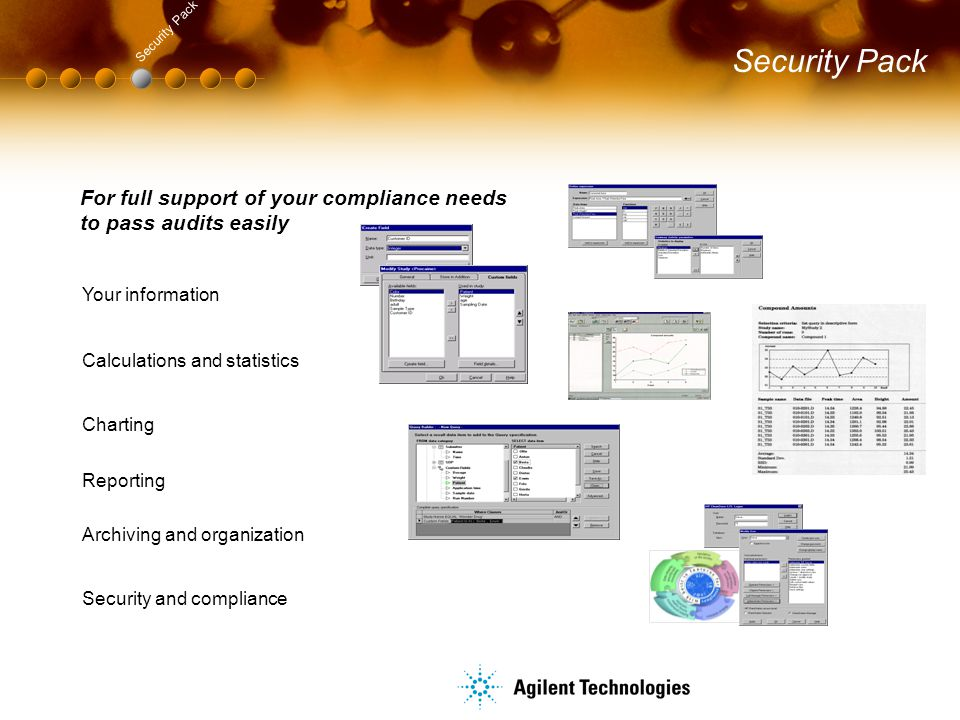 Security Pack For full support of your compliance needs to pass audits easily Your information Reporting Charting Calculations and statistics Security