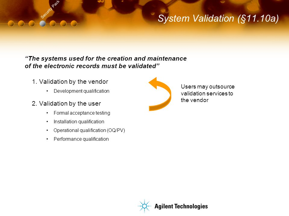 """System Validation (§11.10a) Security Pack """"The systems used for the creation and maintenance of the electronic records must be validated"""" 1.Validation"""