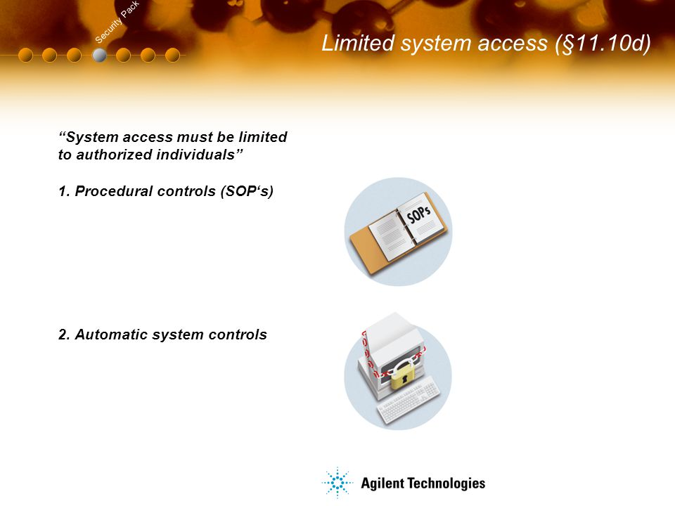 """Limited system access (§11.10d) Security Pack """"System access must be limited to authorized individuals"""" 1. Procedural controls (SOP's) 2. Automatic sy"""