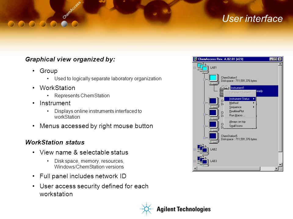 User interface Graphical view organized by: Group Used to logically separate laboratory organization WorkStation Represents ChemStation Instrument Dis