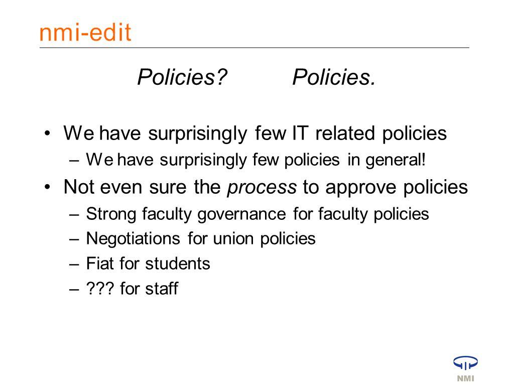 Policies Policies.