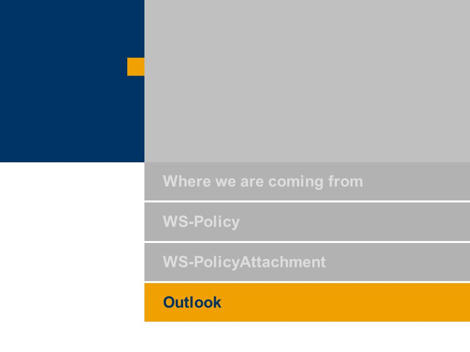 WS-PolicyAttachment Outlook Where we are coming from WS-Policy